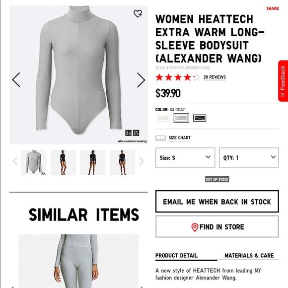 20529b13417e1 Uniqlo Tops   Alexander Wang X Heattech Bodysuit Sold Out   Poshmark